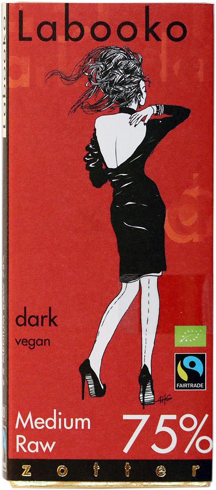 Bio hořká čokoláda Zotter 75% Medium Raw, 70 g Fairtrade